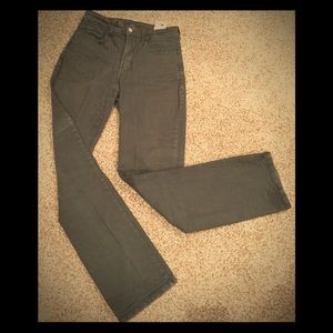 NYDJ LODEN/OLIVE GREEN STRAIGHT LEG JEANS: Size 0